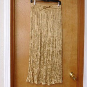 Gold Rayon Maxi Skirt